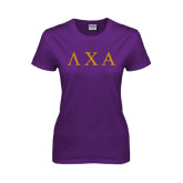 Ladies Purple T-Shirt-Greek Letters