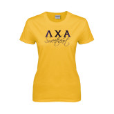 Ladies Gold T Shirt-Greek Letters Sweetheart