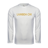 Syntrel Performance White Longsleeve Shirt-Lambda Chi Flat
