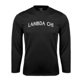 Performance Black Longsleeve Shirt-Lambda Chi Arch