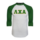 White/Dark Green Raglan Baseball T-Shirt-Greek Letters Bold