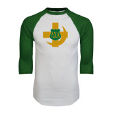 White/Dark Green Raglan Baseball T-Shirt-Crescent Friendship Pin