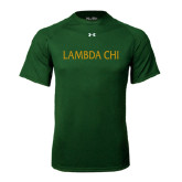 Under Armour Dark Green Tech Tee-Lambda Chi Flat