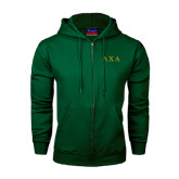 Dark Green Fleece Full Zip Hoodie-Greek Letters