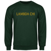 Dark Green Fleece Crew-Lambda Chi Flat
