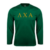Performance Dark Green Longsleeve Shirt-Greek Letters