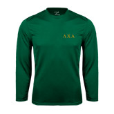 Syntrel Performance Dark Green Longsleeve Shirt-Greek Letters