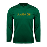 Performance Dark Green Longsleeve Shirt-Lambda Chi Flat