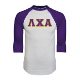 White/Purple Raglan Baseball T Shirt-Greek Letters Bold