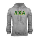 Grey Fleece Hoodie-Greek Letters Bold