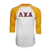 White/Gold Raglan Baseball T-Shirt-Greek Letters Bold
