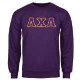 Purple Fleece Crew-Greek Letters Bold