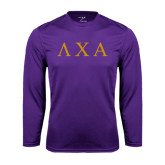 Performance Purple Longsleeve Shirt-Greek Letters