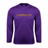Performance Purple Longsleeve Shirt-Lambda Chi Flat