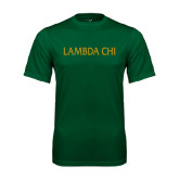 Performance Dark Green Tee-Lambda Chi Flat
