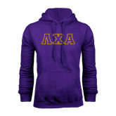 Purple Fleece Hoodie-Greek Letters Bold