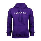 Purple Fleece Hoodie-Lambda Chi Arch
