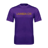 Performance Purple Tee-Lambda Chi Flat