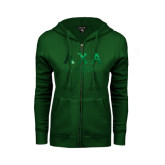ENZA Ladies Dark Green Fleece Full Zip Hoodie-Greek Letters Sweetheart