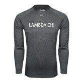 Under Armour Carbon Heather Long Sleeve Tech Tee-Lambda Chi Flat