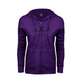 ENZA Ladies Purple Fleece Full Zip Hoodie-Greek Letters Sweetheart