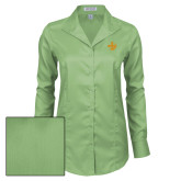 Ladies Red House Green Herringbone Non Iron Long Sleeve Shirt-Crescent