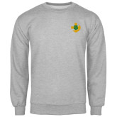 Grey Fleece Crew-Crescent Friendship Pin