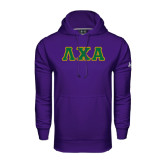 Under Armour Purple Performance Sweats Team Hoodie-Greek Letters Tackle Twill