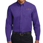 Purple Twill Button Down Long Sleeve-Greek Letters