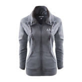Ladies Sport Wick Stretch Full Zip Charcoal Jacket-Greek Letters
