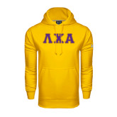 Under Armour Gold Performance Sweats Team Hoodie-Greek Letters Tackle Twill