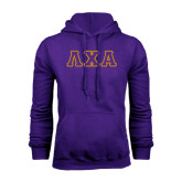 Purple Fleece Hoodie-Greek Letters Tackle Twill