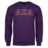 Purple Fleece Crew-Greek Letters Tackle Twill