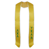 2018 Gold Graduation Stole w/White Trim-Small Greek Letters Tackle Twill Stacked