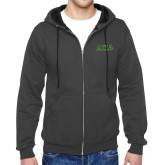 Charcoal Fleece Full Zip Hoodie-Greek Letters Bold