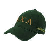 Dark Green Twill Unstructured Low Profile Hat-Greek Letters