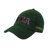Dark Green Twill Unstructured Low Profile Hat-Greek Letters Bold