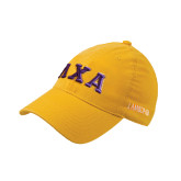 Gold Flexfit Mid Profile Hat-Greek Letters Bold
