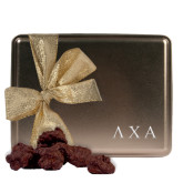 Decadent Chocolate Clusters Gold Large Tin-Greek Letters Engraved