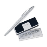 Cross ATX Pure Chrome Rollerball Pen-Lambda Chi Flat Engraved
