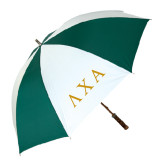 62 Inch Forest Green/White Umbrella-Greek Letters