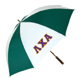 62 Inch Forest Green/White Umbrella-Greek Letters Bold