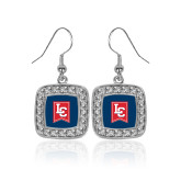 Crystal Studded Square Pendant Silver Dangle Earrings-LC