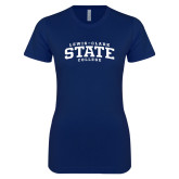 Next Level Ladies SoftStyle Junior Fitted Navy Tee-Lewis-Clark State College