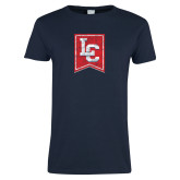 Ladies Navy T Shirt-LC Distressed
