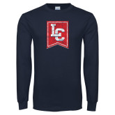 Navy Long Sleeve T Shirt-LC Distressed