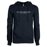 ENZA Ladies Navy Fleece Full Zip Hoodie-Lewis-Clark State College