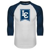 White/Navy Raglan Baseball T Shirt-LC