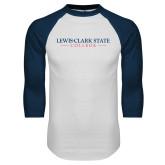 White/Navy Raglan Baseball T Shirt-Lewis-Clark State College