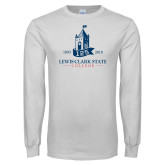 White Long Sleeve T Shirt-125 Years Lewis-Clark State College
